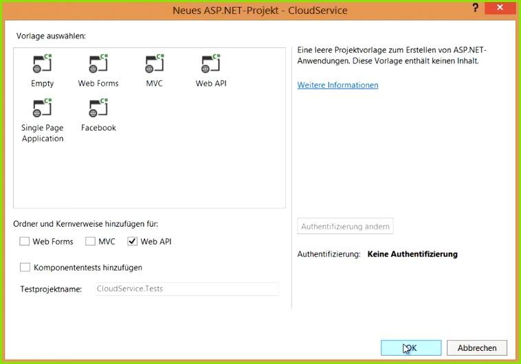 Abbildung 2 – Eine Leere Projektvorlage mit der Web API auswählen
