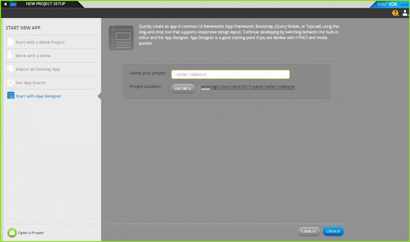 """Abbildung 8 – Ein neues Projekt mit """"WebServiceBeispiel"""" erzeugen"""
