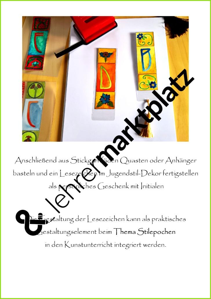 Lesezeichen im Jugendstil Look gestalten Buchstabenvorlagen und Fotoanleitung Buchstaben Vorlagen Kunst Anleitung