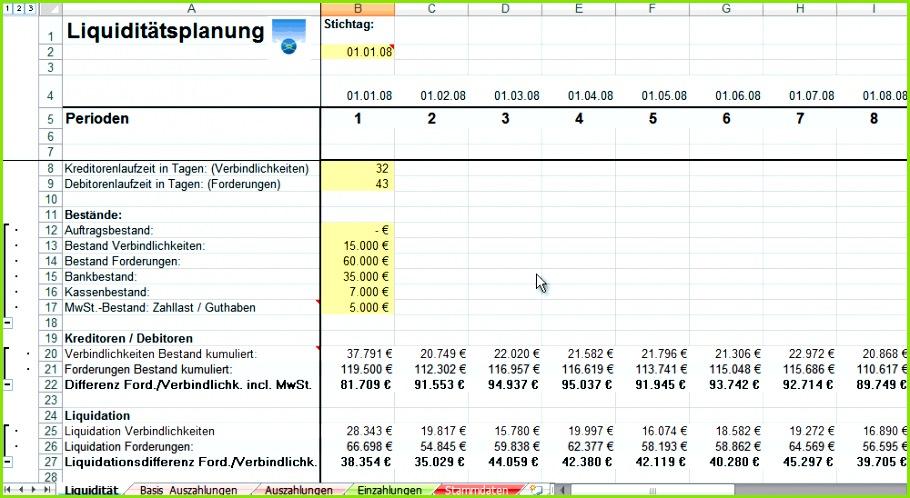 RER A Rollierende Liquiditätsplanung ist ebenfalls für MS Excel erstellt worden In einem Zwölfmonatszeitraum können rollierend über einzelne Monate
