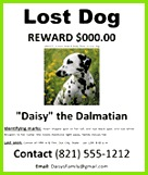 "Free MS Word ""Lost Dog or Missing Dog Poster Template"