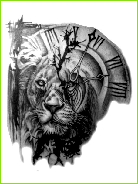 Lion And Clock Tattoo Tattoo Sternzeichen Tätowierung Skizzen Tattoo Handgelenk Tattoos Vorlagen