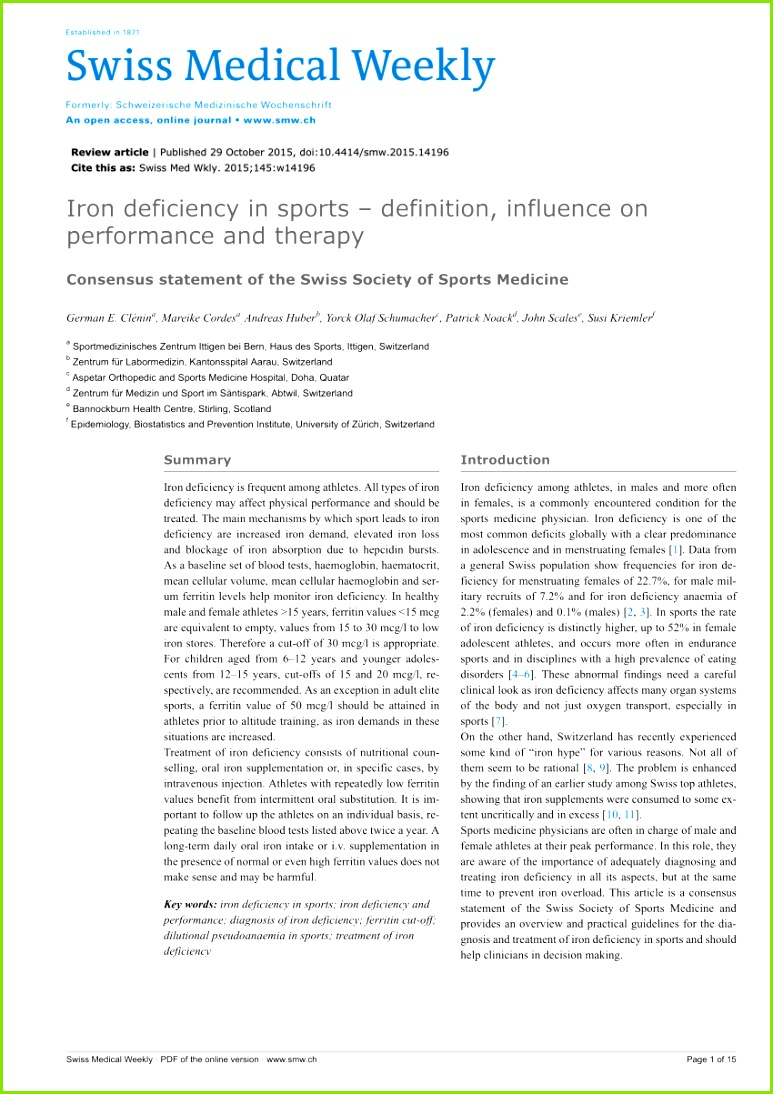 PDF Iron deficiency in sports definition influence on performance and therapy