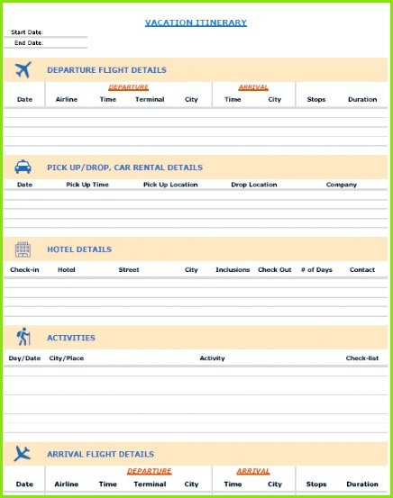 FREE Excel Templates bo Vacation Itinerary Planner Packing List Template Expense Calculator Template