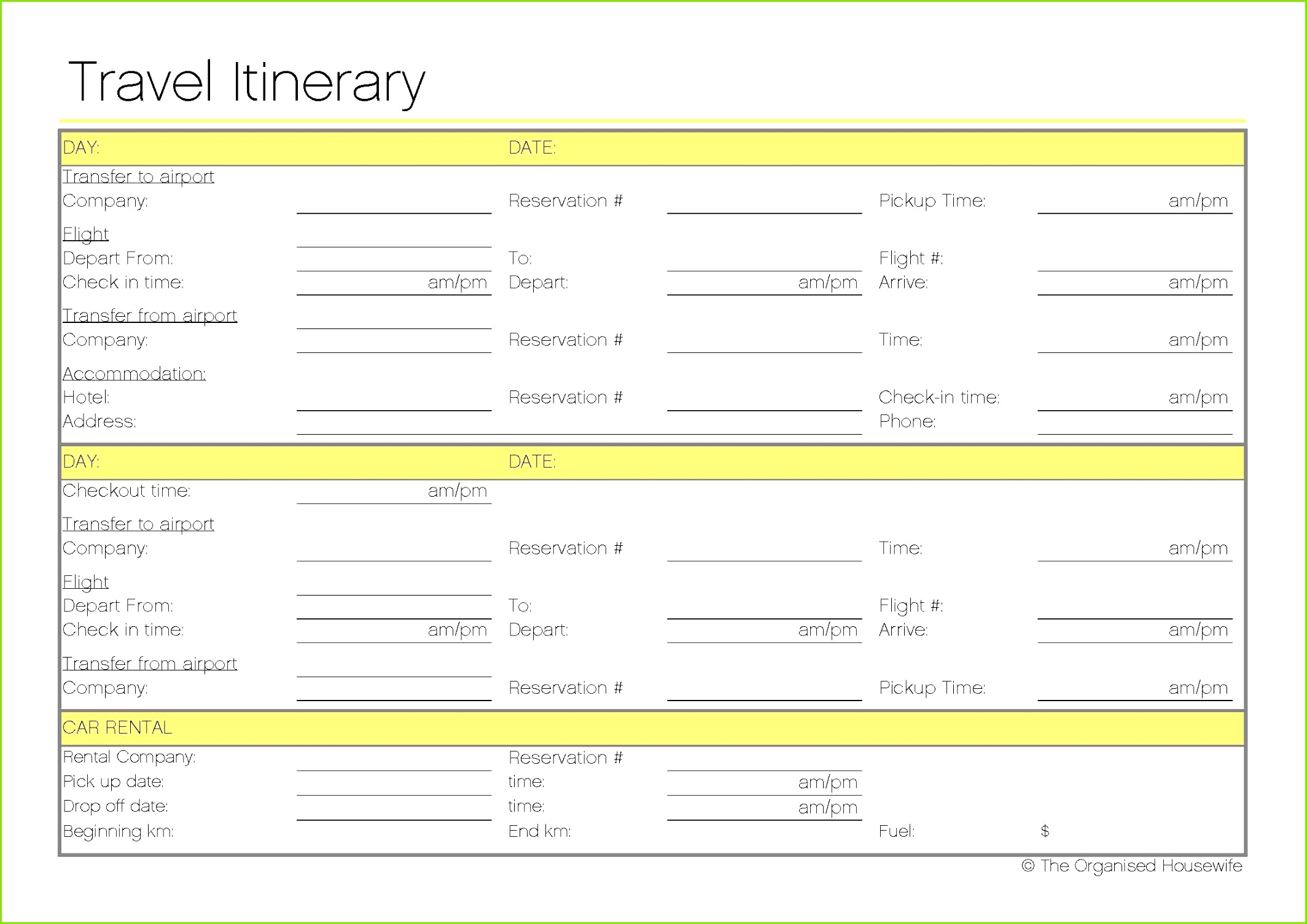 Travel Itinerary Template Travel Checklist Travel Packing Travel Guide Travel Planner