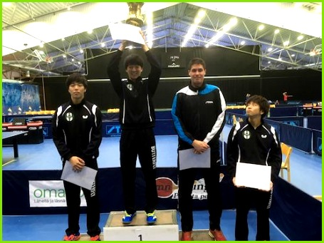 Men on the podium left Takumi Ichninose Hokuto Koriyama and Benedek Oláh Masato