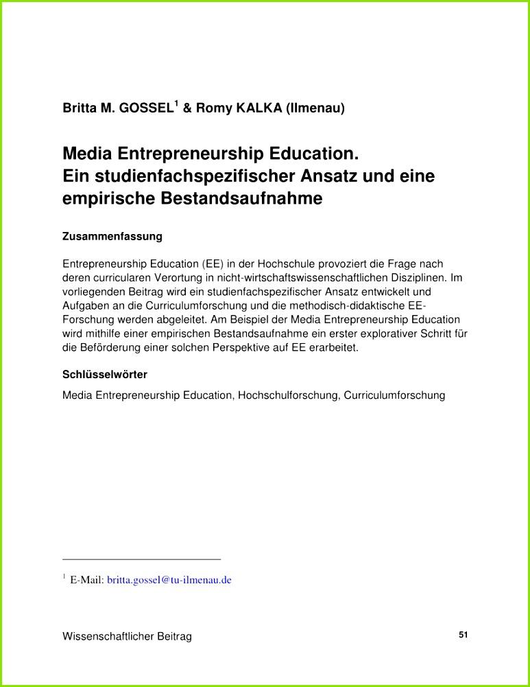 Entrepreneurship Education – Status Quo and Prospective Developments