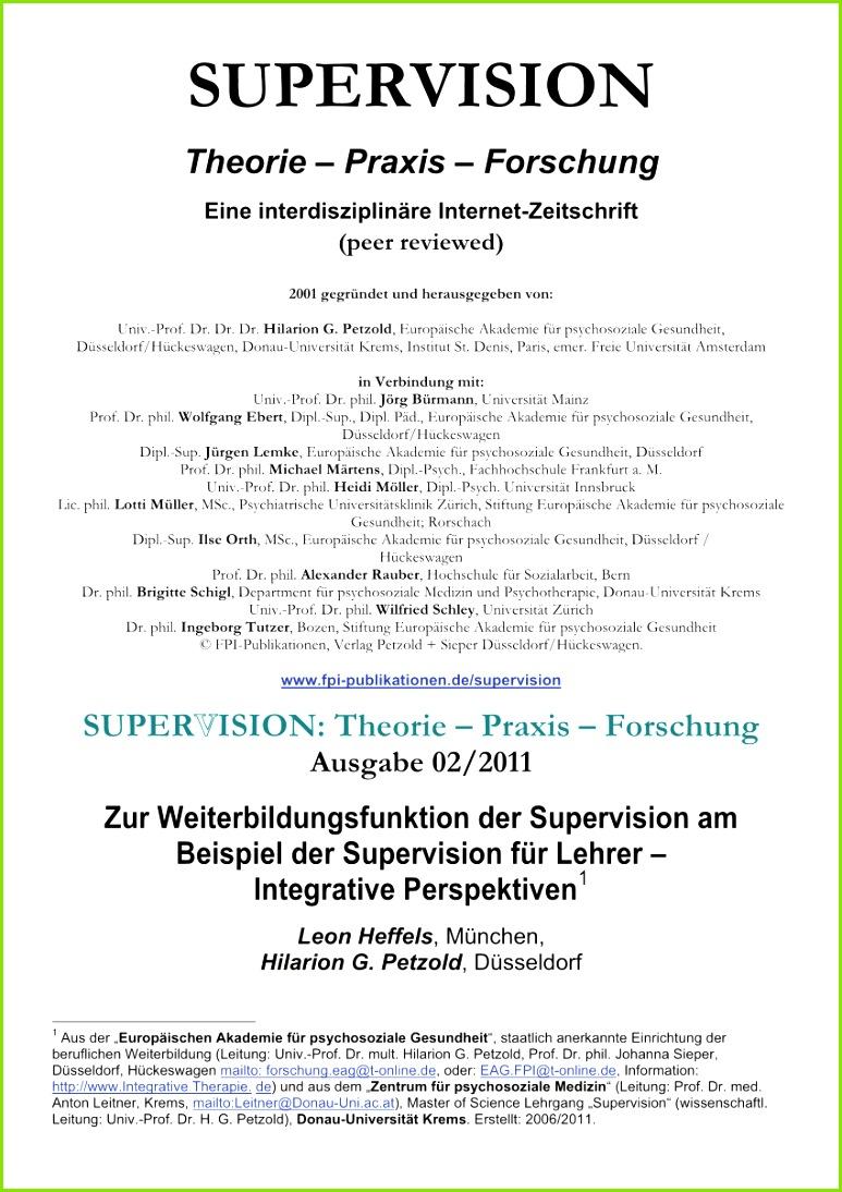 PDF Zur Weiterbildungsfunktion der Supervision am Beispiel der Supervision für Lehrer – Integrative Perspektiven