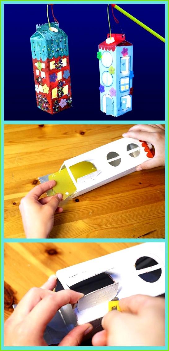 Laternen aus Milchkartons basteln Foto Anleitung Deutsch Pinterest