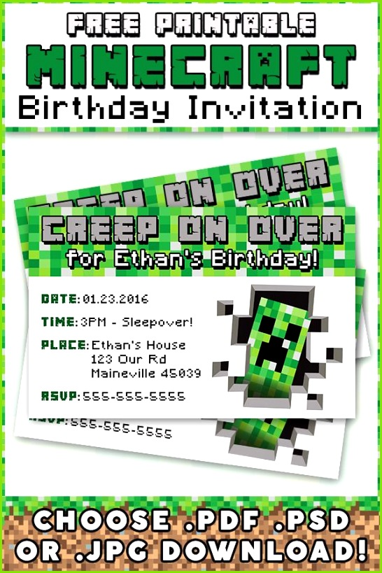 Free Minecraft Printable Invitation Free Printables & Other Awesome Stuff