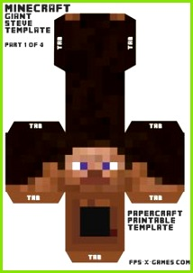 Minecraft giant Steve head papercraft template 1 4 Minecraft Party Games Minecraft Costumes