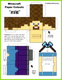 minecraft paper crafts steve template 612—792