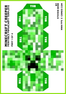 Minecraft Creeper 1 of 4 template to make mask for Elf
