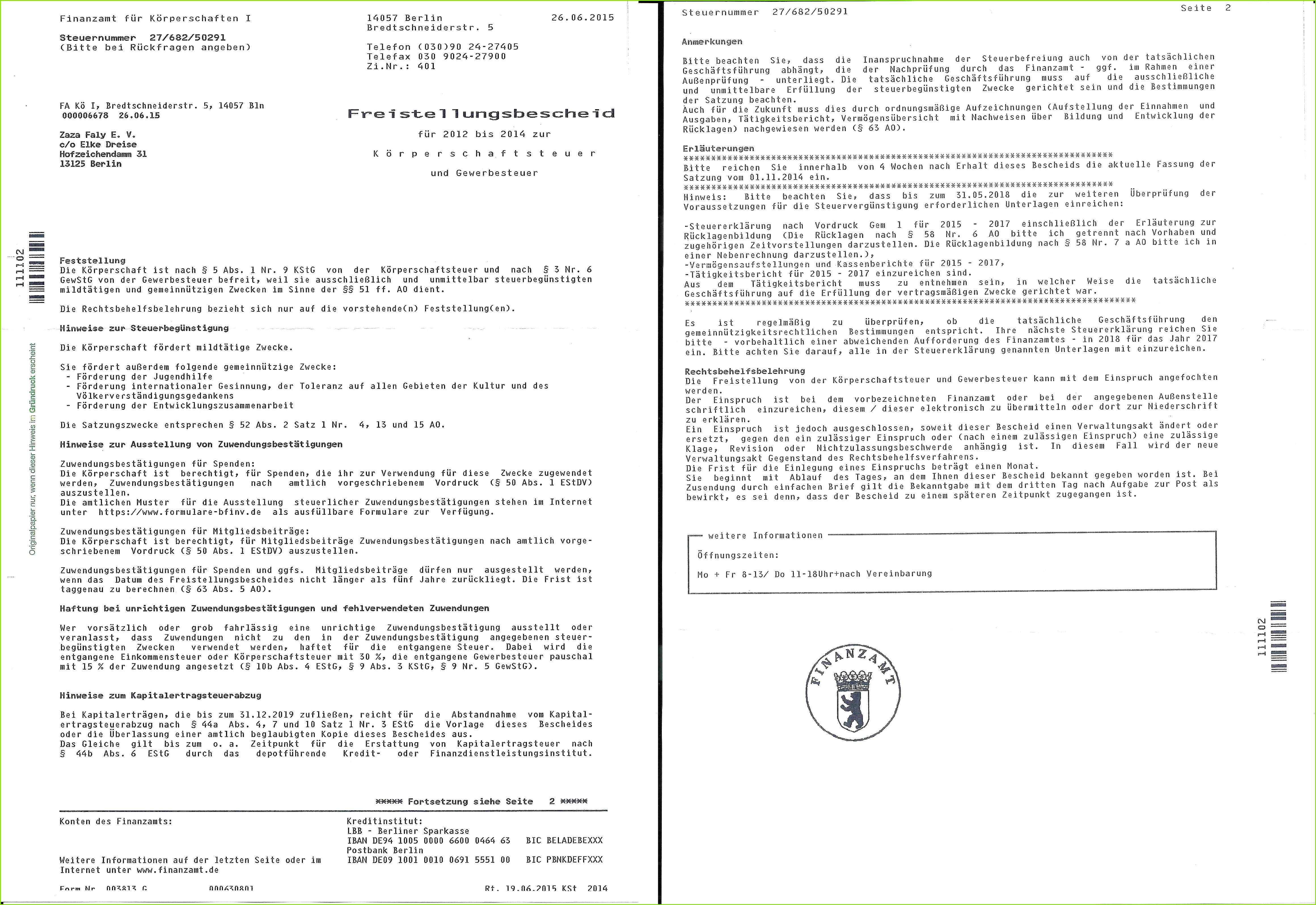 Freistellungsbescheid Infobroschuere Kooperationsvertrag mit Manda Mitgliedschaftsformular