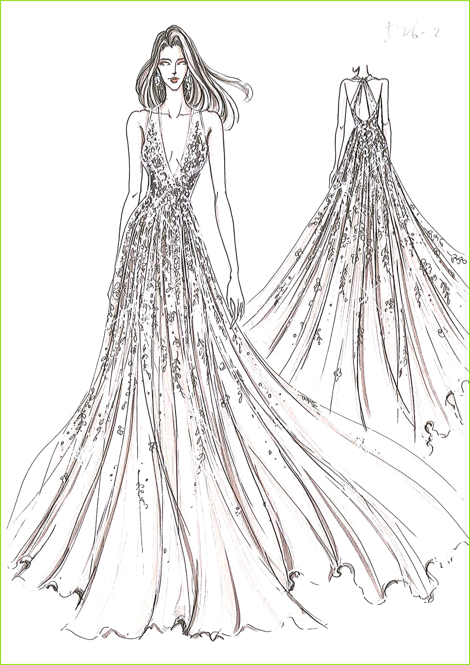 Illustration De Mode Dessin De Mode Esquisse Haute Couture Croquis De Robe