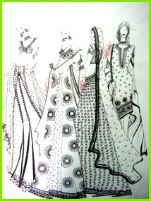 FashionIllustration of Indian Bridalwear Lehenga in Pen by AnilNair at