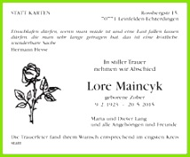 Traueranzeige Jahresgedenken Lore Maincyk