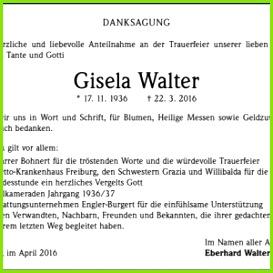 Danksagung Beerdigung Vorlagen Gisela Walter Trauer Traueranzeigen & Nachrufe Badische Zeitung