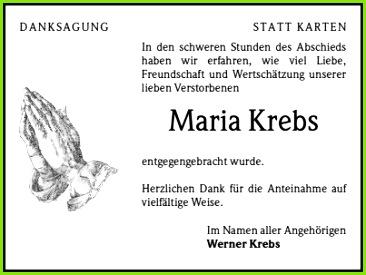 Danksagungen Trauer Maria Krebs Trauer Traueranzeigen & Nachrufe Badische Zeitung