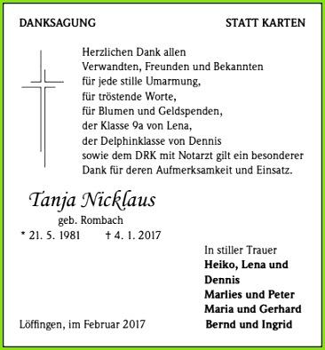 Danksagung Trauerkarte Tanja Nicklaus Trauer Traueranzeigen & Nachrufe Badische