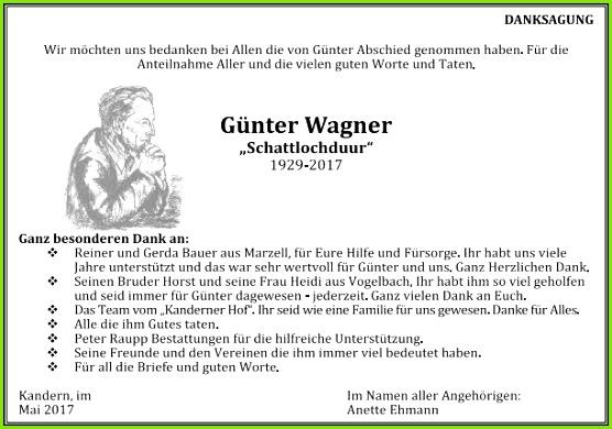 Danksagung Trauerfall Vorlage Günter Wagner Trauer Traueranzeigen & Nachrufe Schnapp