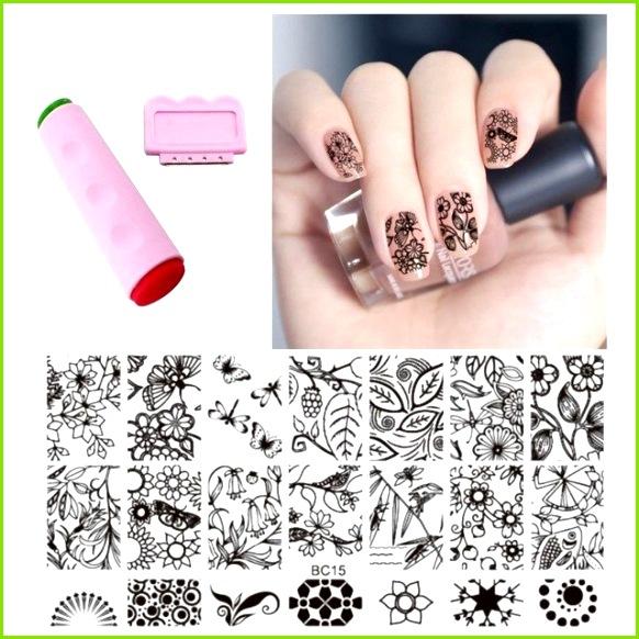 Blume Schmetterling Muster Nail art Stempel Vorlage Bild Platte Und Nagel Stempel Platten 3D Polnischen Vorlagen