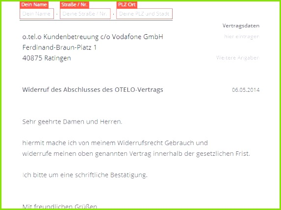 Vodafone Widerruf Vorlage Download CHIP