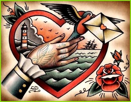 traditional style tattoo flash Quyen Dinh Flasche Tattoo Old School Tattoo Vorlagen