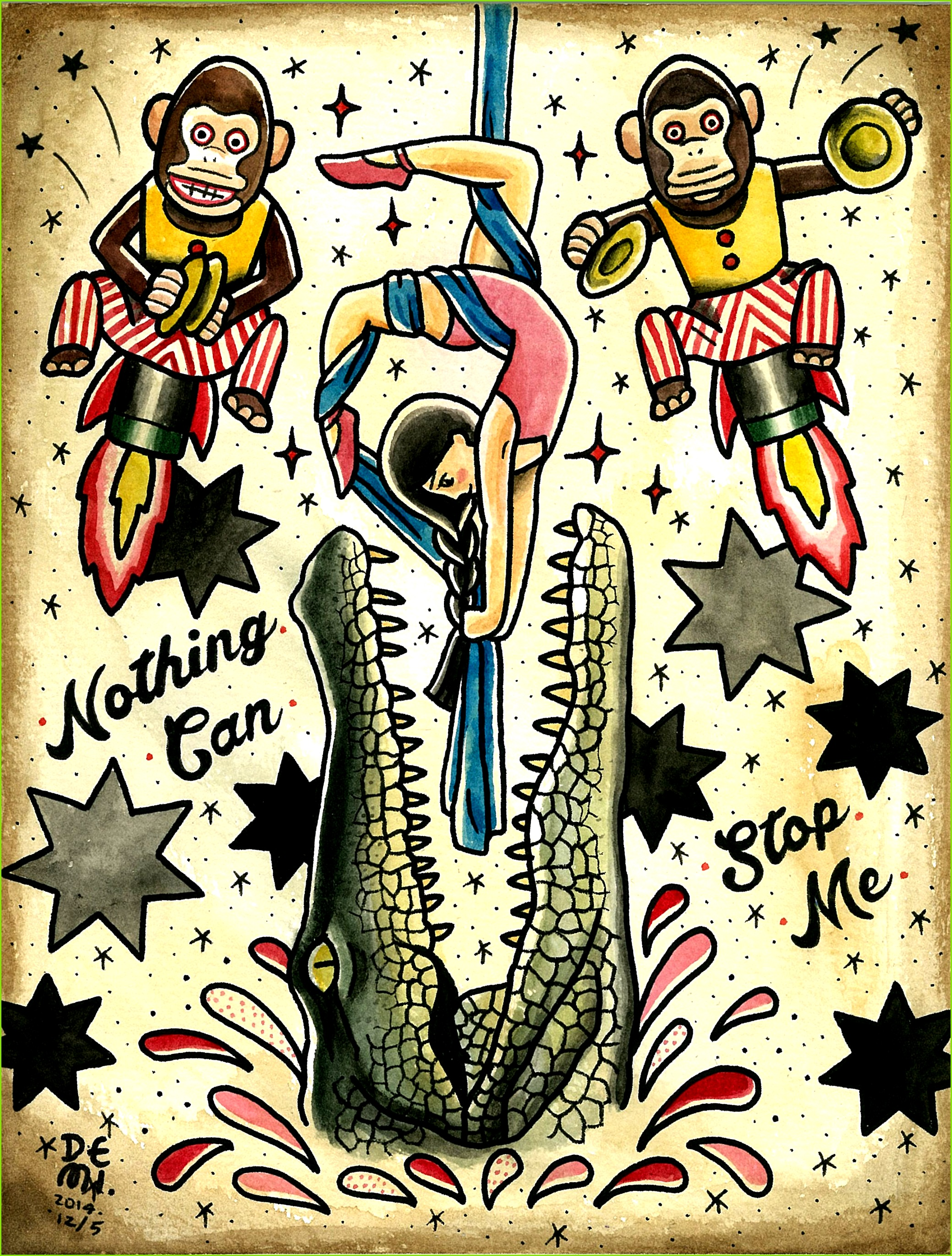 Original tattoo design by DEMI Nothing can stop me water color old school musical monkey alligator Crocodile