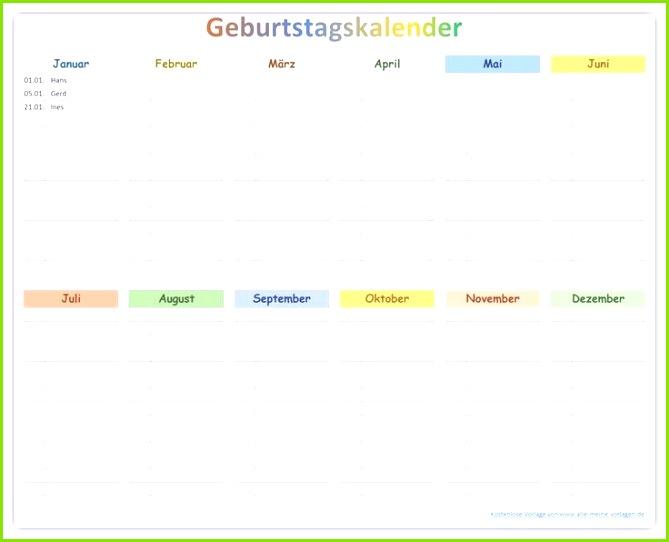 Farbiger Geburtstagskalender zum Ausdrucken als kostenlose Vorlage Entdecke se und viele weitere Vorlagen