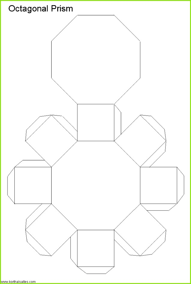 Net octagonal prism Printable Shapes Shape Templates Cement Crafts Paper Weaving Stained