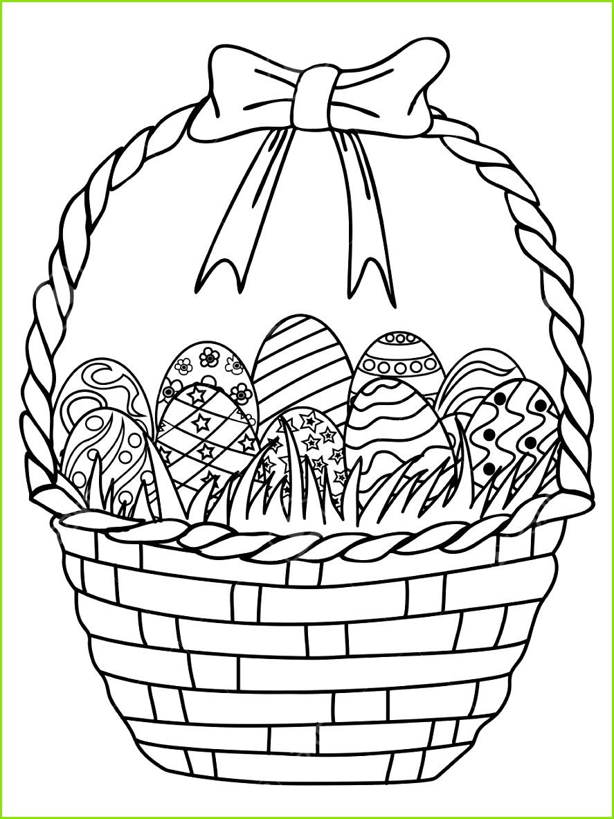 Isoliert Hand gezeichnet Korb von Ostereiern Umriss Malvorlagen auf weißem Hintergrund Standard Bild