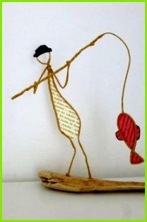 Le pªcheur figurine en ficelle et papier Papier et fil de fer Pinterest