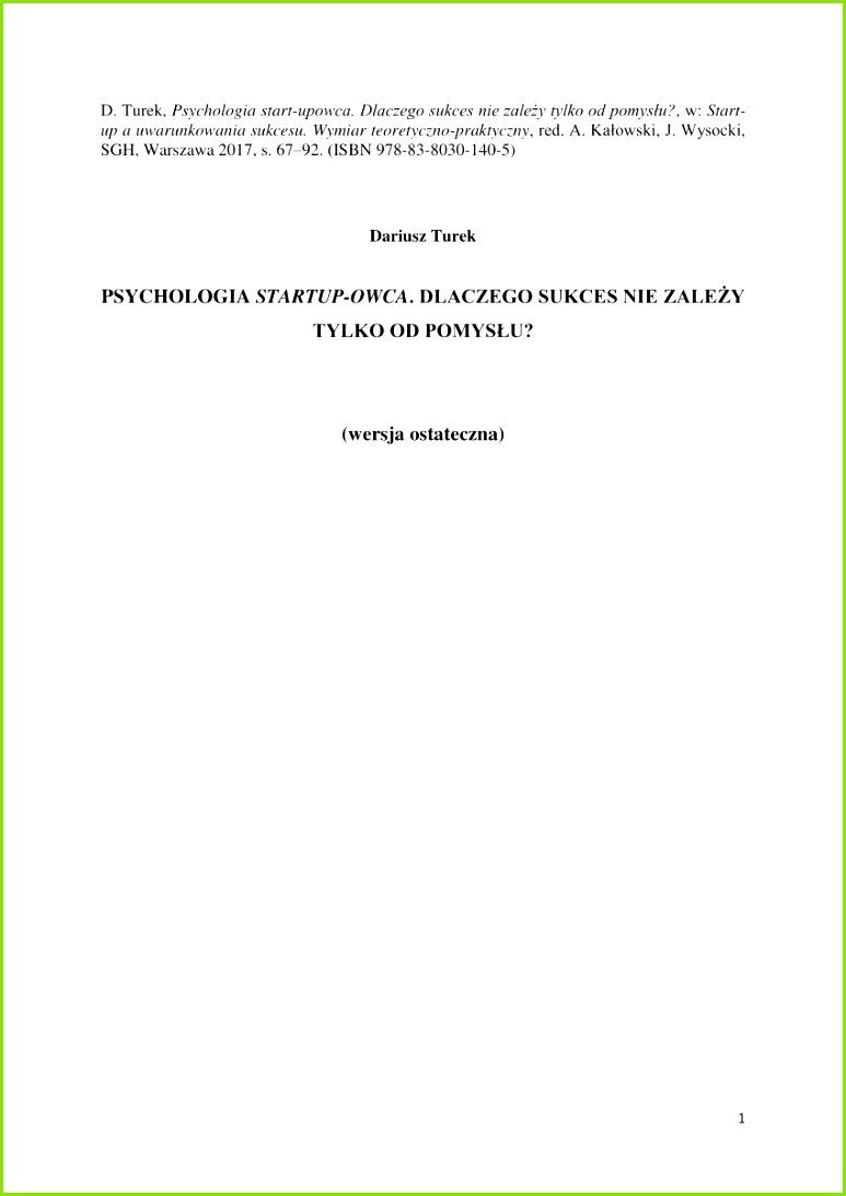 Psychological Perspectives on Entrepreneurship Cognitive and Social Factors in Entrepreneurs Success
