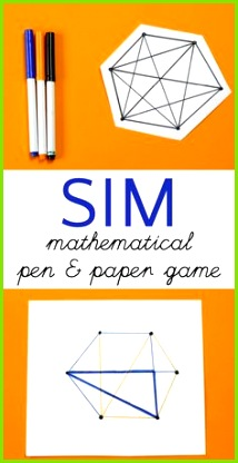 Pen and paper game that is also a math game for kids Sim makes a