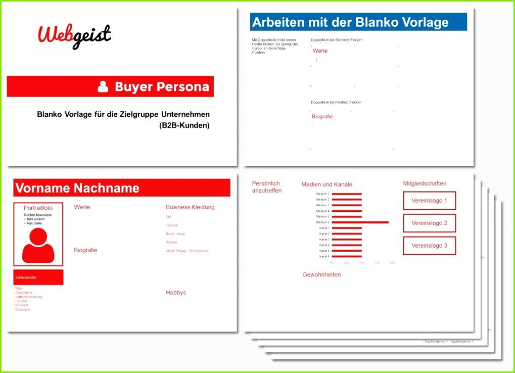 Buyer Persona Blanko Vorlage für B2B Kunden Jetzt auf webgeist herunterladen