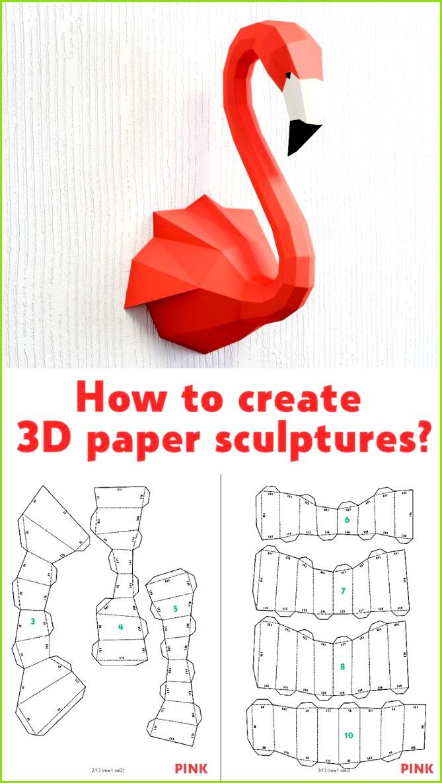 Papercraft Flamingo DIY Papier Handwerk PDF Vorlage Papercraft 3D Modell Crafting