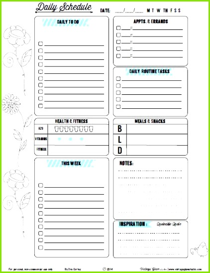 Free Printable Doodled Floral II Daily Planner from Vintage Glam Studio