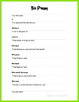 FREE worksheets graphic organizers class signs I Am Poem Template Introduction Activities