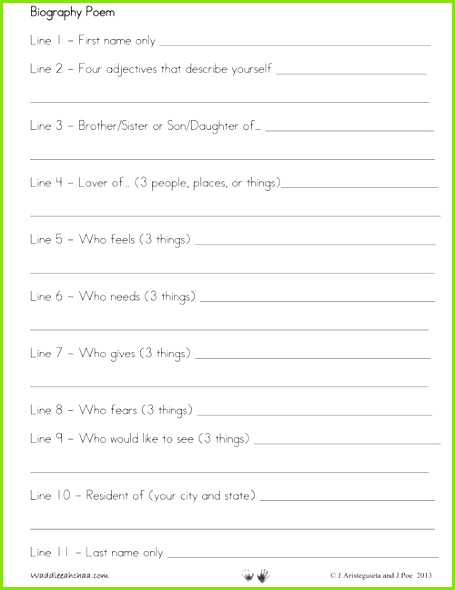 Writing a Bio Poem with Kids Free Printable Template at Waddlee ah chaa This is just the jump start reluctant writers need to draft a biographical poem