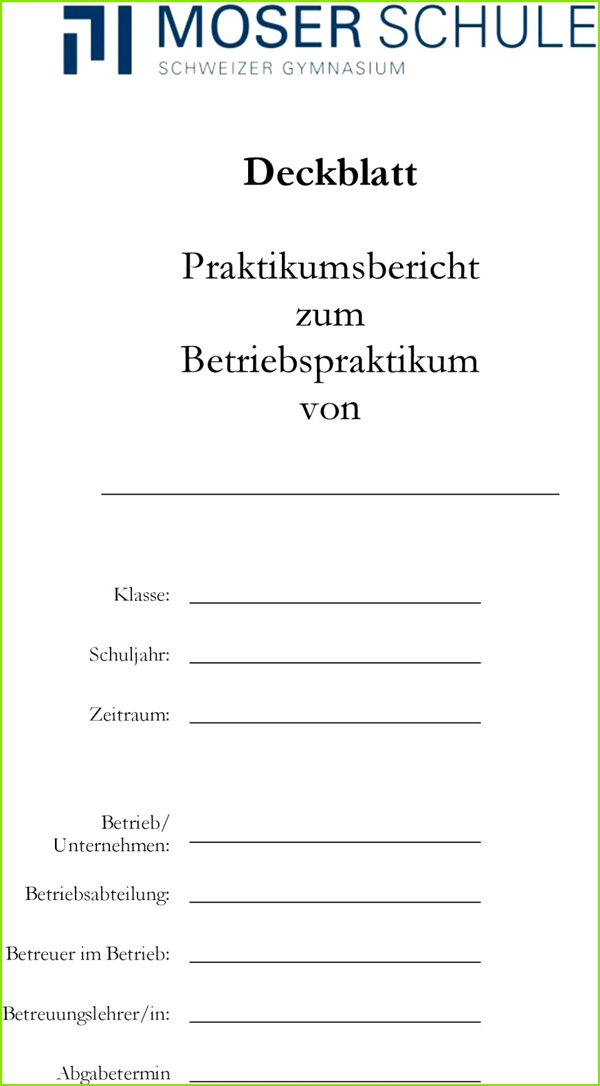 praktikumsbericht deckblatt vorlage