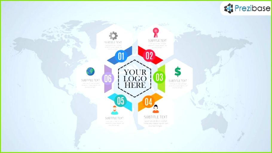 Free hexagon style layout world infographic prezi template
