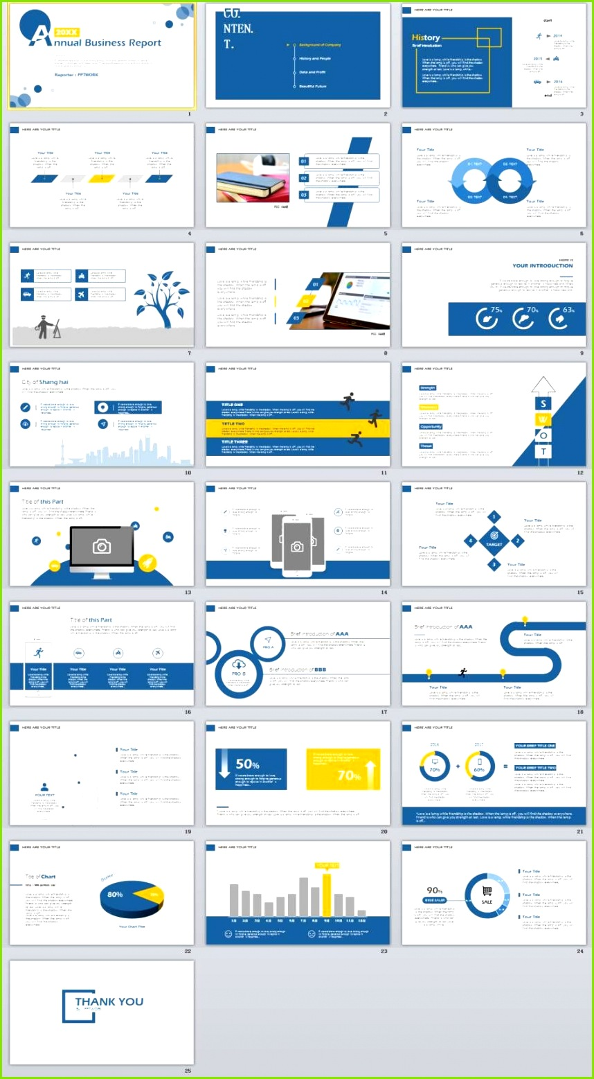 25 Simple Blue annual report PowerPoint Template