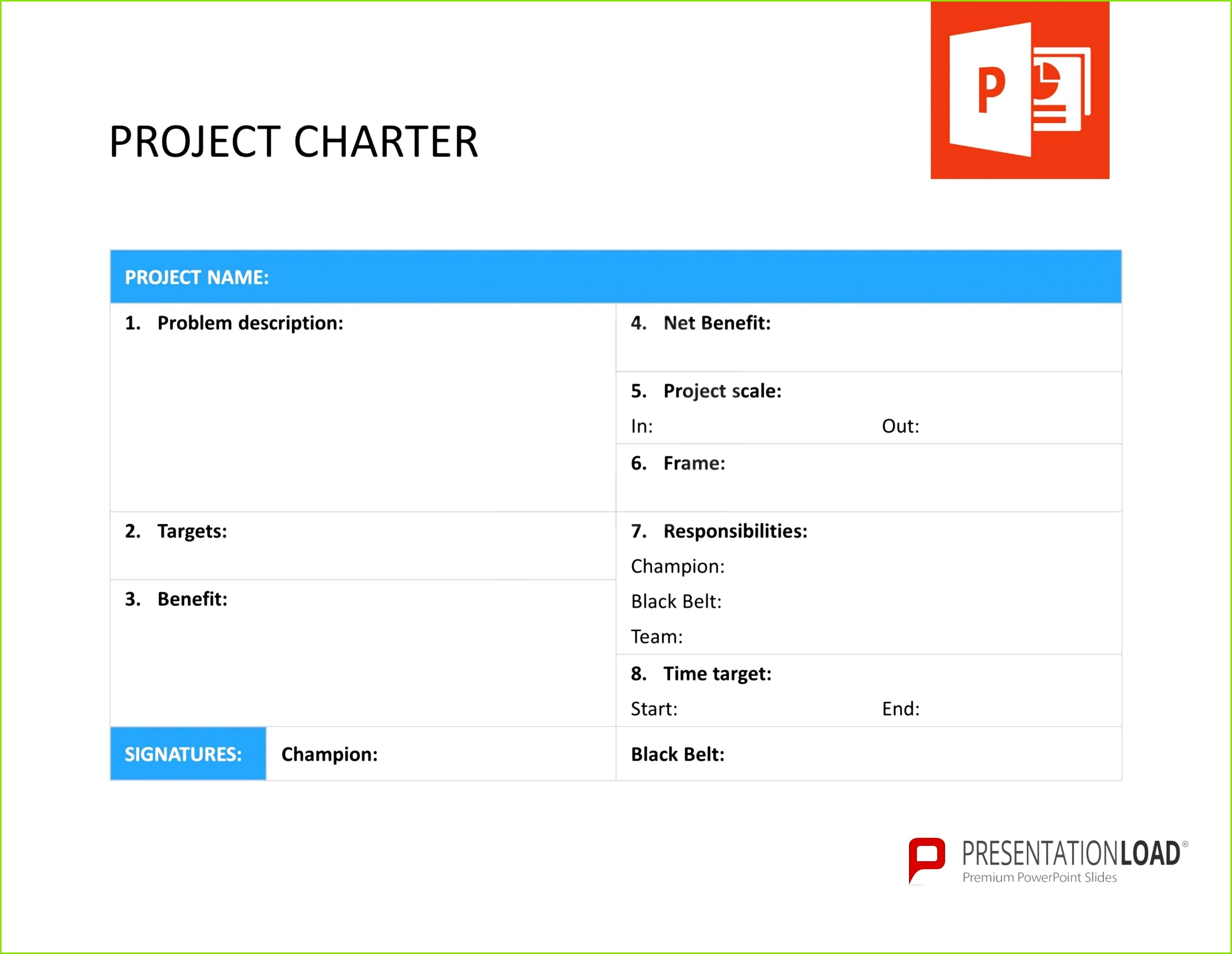 Project Charter Six Sigma – PowerPoint templates