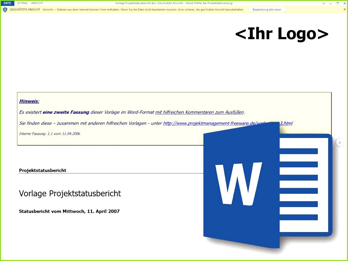 Projektstatusbericht im Projektmanagement als Word Vorlage