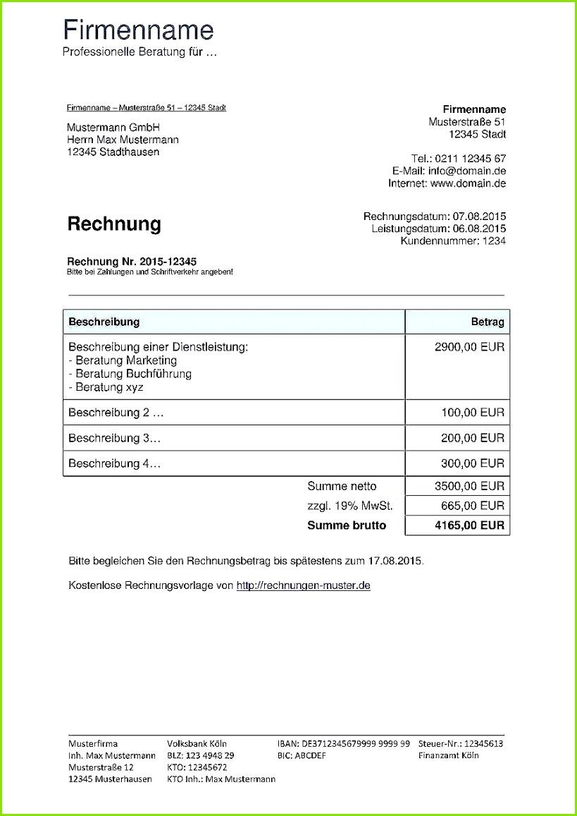 Rechnung übungsleiterpauschale Vorlage Neu Rechnungsvorlagen Kostenlos Rechnungsvorlage Für Jeden