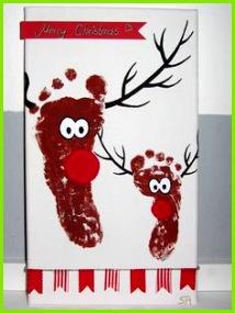 Rentier Bild Fußabdruck Reen r Foodprint print DIY selber Keilrahmen Acryl Farbe machen basteln anleitung tutorial malen