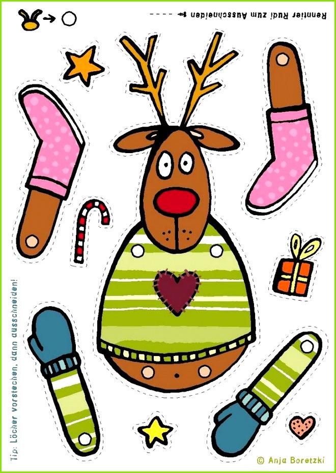 FREE printable reindeer rudolph template for kids Vorlage basteln Kinder Weihnachten Hampelrentier Hampelmann rentier