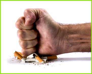 graph of a fist crushing cigarettes