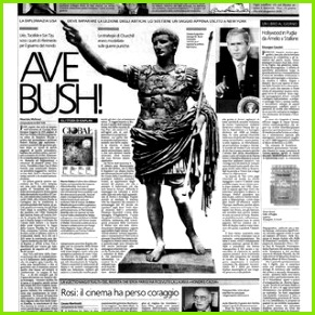 "La Stampa 06 04 2002 with banner headline "" Ave Bush """
